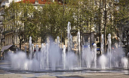 gaulle: Fountain on the Charles de Gaulle square in Antibes. France