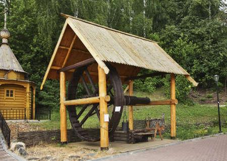 masters: Draw-well in City of Masters. Gorodets. Nizhny Novgorod Oblast. Russia