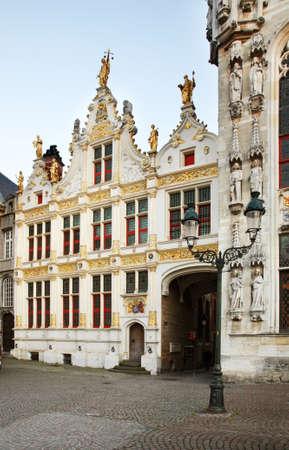 burg: Burg square in Bruges. Flanders. Belgium Stock Photo