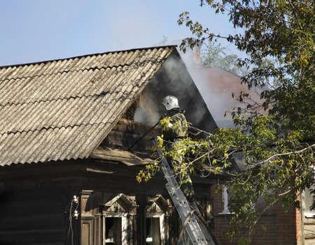 extinguishing: Fire extinguishing in Kungur. Perm Krai. Russia
