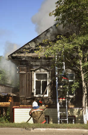 fire extinguishing: Fire extinguishing in Kungur. Perm Krai. Russia