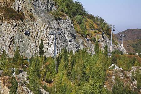 kazakhstan: Cableway in Medeu. Kazakhstan Stock Photo
