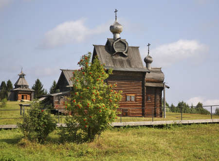 perm: Church of Transfiguration and watchtower in Khokhlovka. Perm krai. Russia