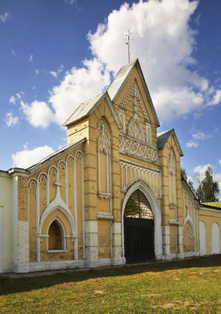 gothic revival: Stables. Gothic Revival Dubrovitsy. Russia Stock Photo