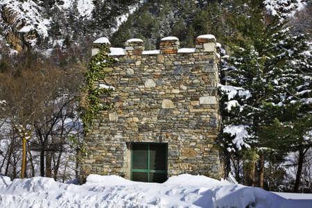 andorra: Stone tower in Arans. Principality of Andorra Stock Photo