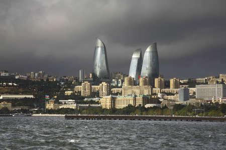 llamas de fuego: Seafront in Baku. Azerbaijan Editorial