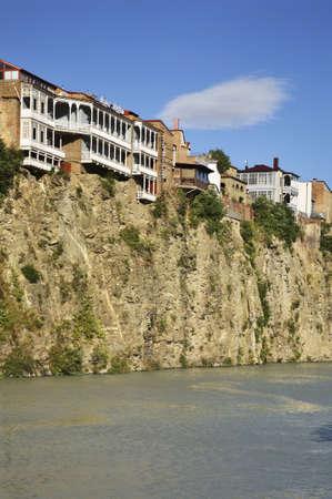 tbilisi: Kura river in Metekhi. Tbilisi. Georgia