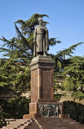 rustaveli: Rustaveli monument on Rustaveli square in Tbilisi. Georgia Stock Photo