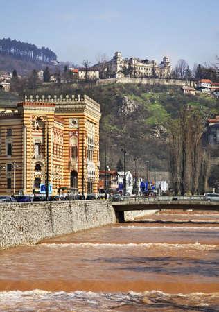 herzegovina: Embankment in Sarajevo. Bosnia and Herzegovina