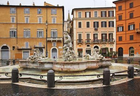 navona: Fontana del Moro Moor Fountain on Piazza Navona in Rome. Italy