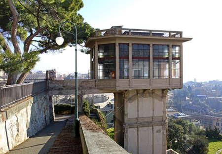 genoa: City elevator in Genoa. Italy Stock Photo