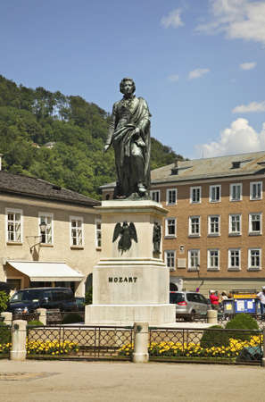 mozart: Monument to Mozart in Salzburg. Austria Stock Photo