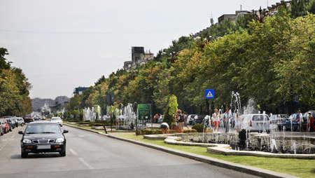 unification: Bulevardul Unirii Unification Boulevard in Bucharest. Romania Editorial