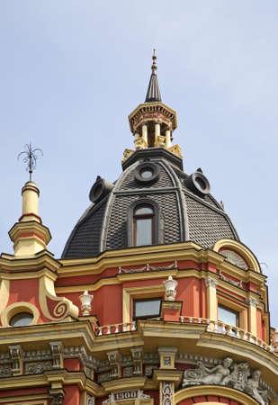 exterior architectural details: House of Sirotkin in Kiev. Ukraine Stock Photo