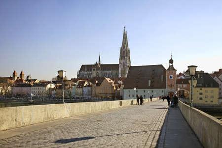 regensburg: Stone Bridge over the Danube in Regensburg. Bavaria. Germany