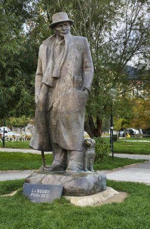 statuary: Lasgush Poradeci in Pogradec. Albania