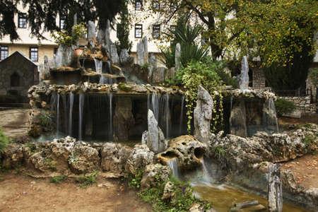 and saint: Saint Naum. Waterfall in Monastery of Saint Naum. Macedonia Stock Photo