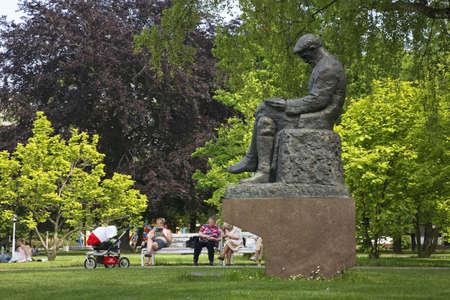 statuary garden: Monument to Martin Kukucin in Medical garden. Bratislava. Slovakia
