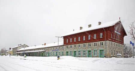 Railway station in Zelezna Ruda. Czech Republic