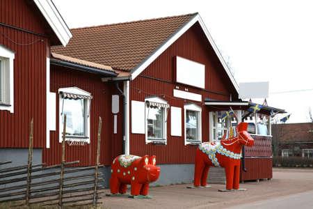 Dalecarlian Dala horse in Nusnas. Dalarna county. Sweden