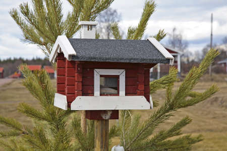 feeders: Bird feeders in Nusnas. Dalarna county. Sweden Editorial