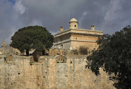 defensive: Defensive walls of city in Mdina Malta