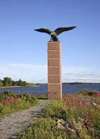 aviators: Monument to Finnish aviators in Vaasa. Finland Stock Photo