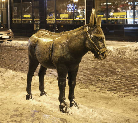 statuary: Burro on Market Square in Torun. Poland