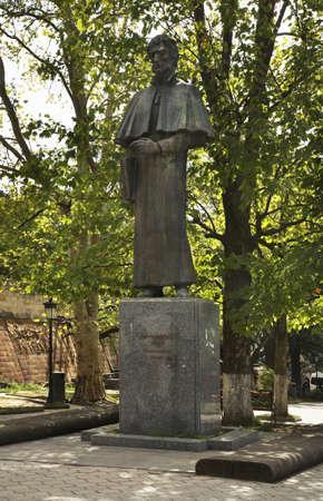 solomon: Monument to Solomon Dodashvili in Sighnaghi. Kakheti. Georgia Stock Photo
