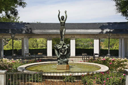 gomez: Monument to Ramon Gomez de la Serna in Vistillas Garden in Madrid. Spain