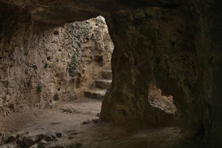 fabrica: Catacombs of Fabrica Hill - Colline de Fabrika in Pafos. Cyprus Stock Photo