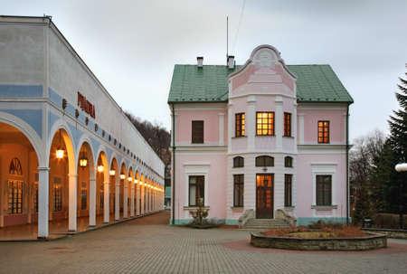 tap room: Jozef Dietl square in Iwonicz-Zdroj. Poland Editorial