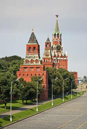 spasskaya: Konstantino-Eleninskaya, Nabatnaya, Spasskaya and Tsarskaya towers of Moscow Kremlin. Russia
