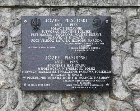 plaque: La placa de Jozef Pilsudski en Opatija. Croacia
