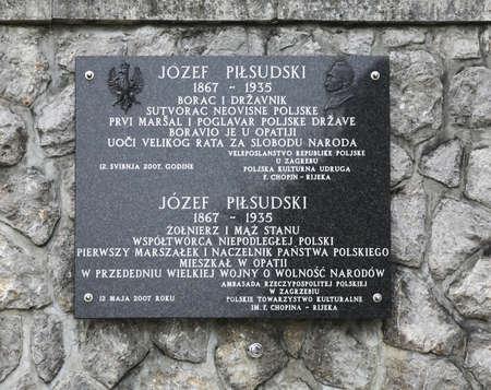 showplace: Plaque of Jozef Pilsudski in Opatija. Croatia