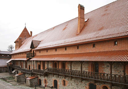 lithuania: Inner yard of Castle in Trakai. Lithuania