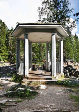 riverside tree: Pavilion on Vuoksi riverbank in Imatra. Finland Stock Photo