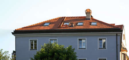 stovepipe: Fragment of building in Innsbruck. Tyrol. Austria Stock Photo