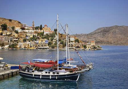ano: Gialos bay in Ano Symi. Greece