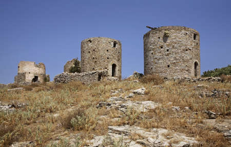 ano: Pontikokastro - mouse castle in Ano Symi. Greece Stock Photo