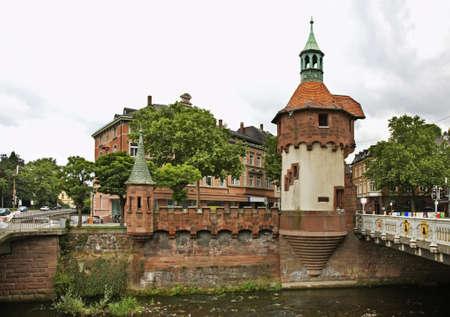 baden wurttemberg: North Tower of Schwabentorbrucke bridge in Freiburg im Breisgau. Germany