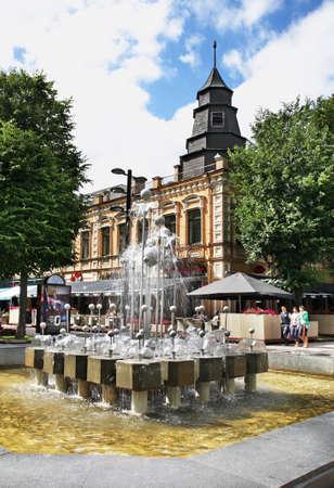 kaunas: Fountain on Liberty boulevard - Laisvs aleja in Kaunas. Lithuania Editorial