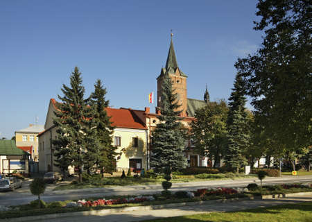 john the baptist: Church of St. John Baptist in Pilzno. Poland Stock Photo