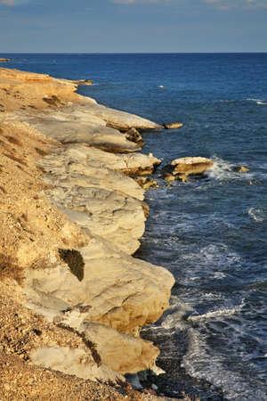 seaboard: White stones near Limassol. Cyprus Stock Photo