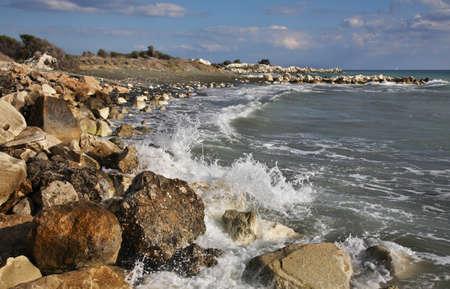 limassol: White stones near Limassol. Cyprus Stock Photo