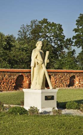 statuary garden: Andrew Apostle sculpture near church of Jude Thaddaeus. Luchaj. Belarus
