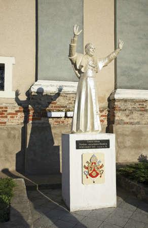 xvi: Benedict XVI sculpture near church of Jude Thaddaeus. Luchaj. Belarus