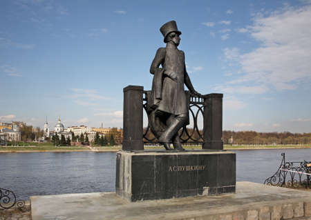 garden statuary: Monument to Alexander Pushkin on City Garden embankment in Tver. Russia Editorial