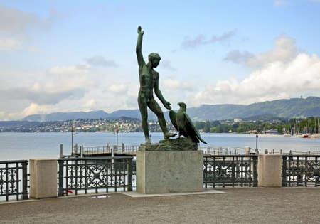Sculpture of Ganymede in Zurich. Switzerland Stock Photo