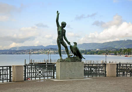 Sculpture of Ganymede in Zurich. Switzerland Standard-Bild